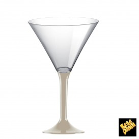 Copa de Plastico Cocktail con Pie Beige 185ml (20 Uds)