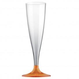 Copa de Plastico Cava con Pie Naranja Transp. 140ml (400 Uds)