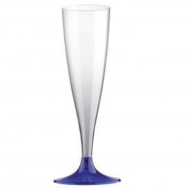 Copa de Plastico Cava con Pie Azul 140ml (400 Uds)