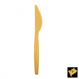 Cuchillo de Plastico Easy PS Oro 185mm (20 Uds)