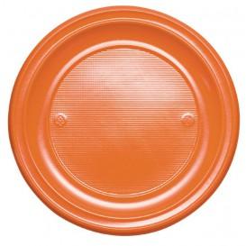 Plato de Plastico PS Llano Naranja Ø220mm (30 Uds)
