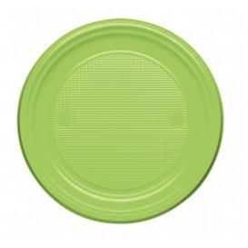 Plato de Plastico Llano Verde Lima PS 170mm (50 Uds)