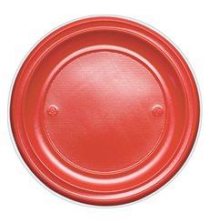 Plato de Plastico Llano Rojo PS 220mm (780 Uds)