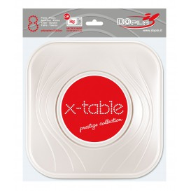 "Plato de Plastico PP ""X-Table"" Cuadrado Perla 230mm (8 Uds)"
