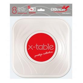 """Plato de Plastico PP """"X-Table"""" Cuadrado Perla 230mm (120 Uds)"""