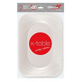 "Bandeja de Plastico PP ""X-Table"" Perla 330x230mm (2 Uds)"