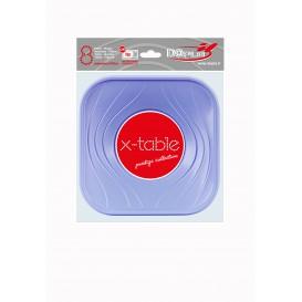"""Plato de Plastico PP """"X-Table"""" Cuadrado Violeta 180mm (120 Uds)"""