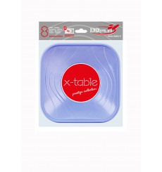 Bol de Plastico Cuadrado Violeta PP 180x180mm (8 Uds)