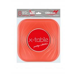 "Plato de Plastico PP ""X-Table"" Cuadrado Naranja 230mm (8 Uds)"