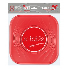 "Plato de Plastico PP ""X-Table"" Cuadrado Rojo 230mm (8 Uds)"