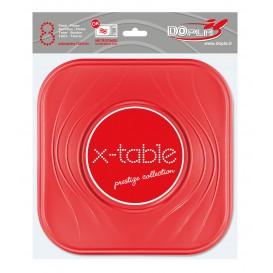 """Plato de Plastico PP """"X-Table"""" Cuadrado Rojo 230mm (120 Uds)"""