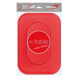"""Bandeja de Plastico """"X-Table"""" Rojo PP 330x230mm (60 Uds)"""