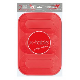 "Bandeja de Plastico ""X-Table"" 3C Rojo PP 330x230mm (2 Uds)"