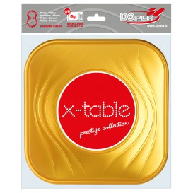 "Plato de Plastico ""X-Table"" Cuadrado Oro PP 230mm (8 Uds)"