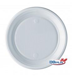 Plato de Plastico Llano Blanco PS 220 mm (1600 Uds)