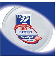 Plato de Plastico Blanco PS 220 mm (100 Uds)