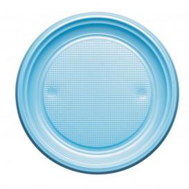 Plato de Plastico PS Llano Azul Claro Ø220mm (30 Uds)