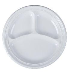 """Plato de Plastico PS """"Famous Impact"""" 3 C. Blanco Ø260mm (125 Uds)"""