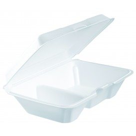 Envase Foam LunchBox 2 C. Blanco 230x160mm (100 Uds)
