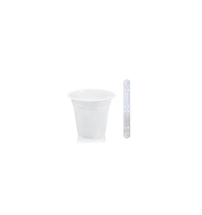 Pack Vaso 80ml Blanco y Paletina 90 mm Transparente