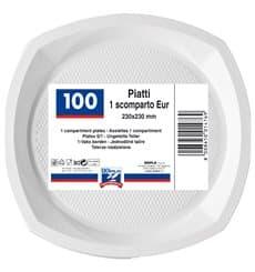 Plato de Plastico PS Cuadrado Blanco 200x200mm (100 Uds)