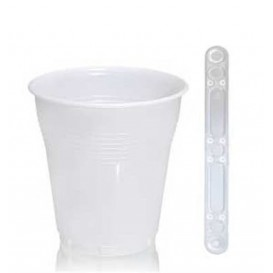 Pack Vaso 160ml Vending BLANCO  3000 Uds +  Paletina 90mm Transparente