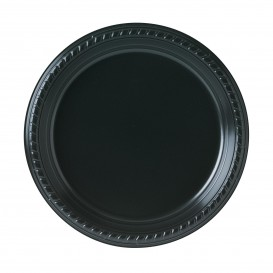 Plato de Plastico Party PS Llano Negro Ø230mm (25 Uds)