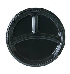 Plato de Plastico Party PS Llano Negro 3 compartimentos Ø260mm (25 Uds)