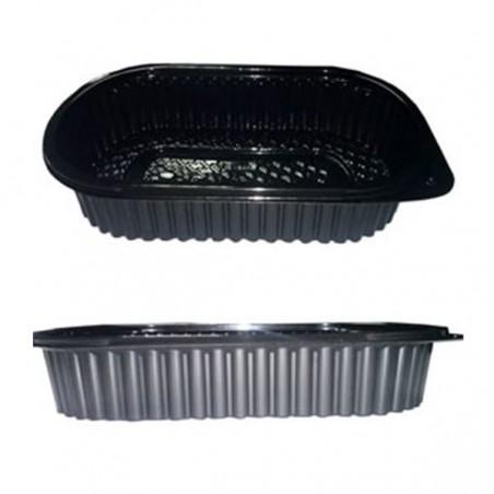 Envase Rectangular  Plastico PP 1000ml Negro (100Uds)