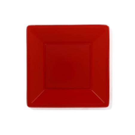 Plato de Plastico Llano Cuadrado Rojo 230mm (750 Uds)