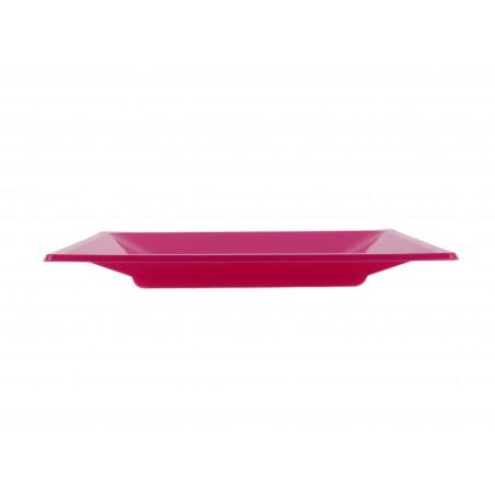 Plato de Plastico Llano Cuadrado Fucsia 170mm (750 Uds)