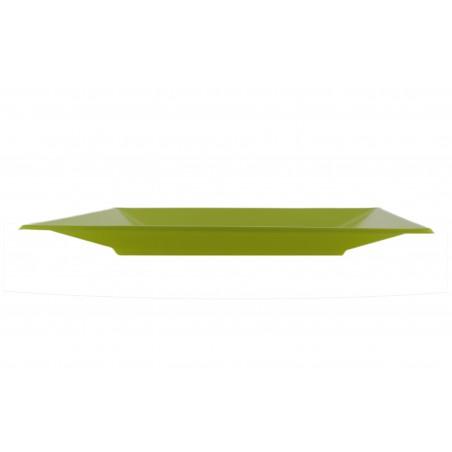 Plato de Plastico Llano Cuadrado Pistacho 230mm (180 Uds)