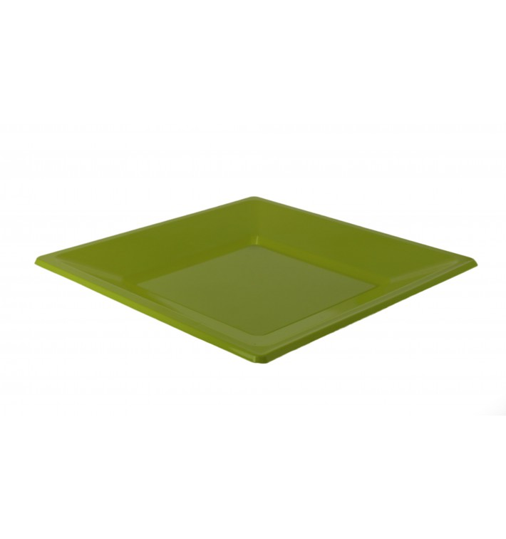 Plato de Plastico Llano Cuadrado Pistacho 230mm (3 Uds)