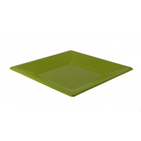 Plato cuadrado de plastico llano pistacho 230 mm