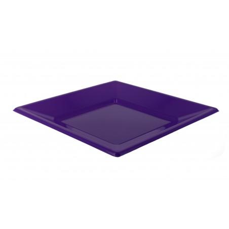 Plato de Plastico Llano Cuadrado Lila 230mm (25 Uds)