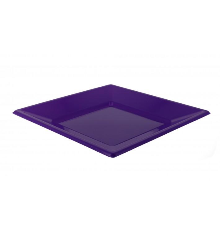 Plato de Plastico Llano Cuadrado Lila 230mm (750 Uds)