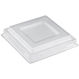 Tapa Bol Square Dessert Transparente PET 90 ml (25 Uds)