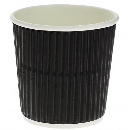 """Vaso Cartón 4 Oz/120ml """"Rizado"""" Negro Ø6,0cm (1000 Uds)"""