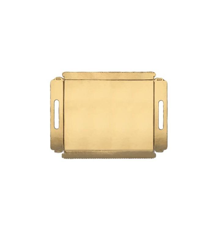 Bandeja Carton con Asas Metalizada 12x19cm (100 Uds)