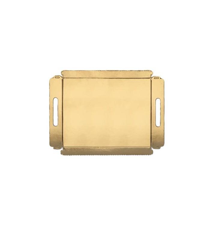 Bandeja Carton con Asas Metalizada 16x23cm (100 Uds)