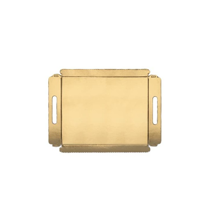 Bandeja Carton con Asas Metalizada 16x23cm (100 Unidades)
