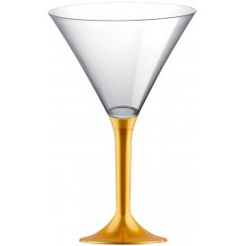 Copa de Plastico Cocktail con Pie Oro 185ml (20 Uds)
