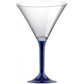 Copa de Plastico Cocktail con Pie Azul 185ml (20 Uds)