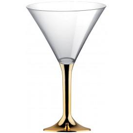 Copa Plastico Cocktail Pie Oro Cromado 185ml 2P (200 Uds)
