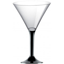 Copa de Plastico Cocktail con Pie Negro 185ml (20 Uds)
