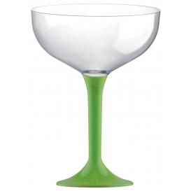 Copa de Plastico Champan con Pie Verde Lima 200ml (20 Uds)