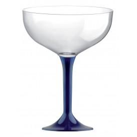 Copa de Plastico Champan con Pie Azul 200ml (20 Uds)