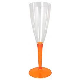 Copa de Plastico Cava Pie Naranja 100ml (6 Uds)