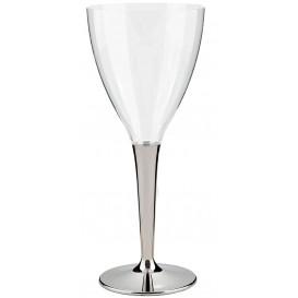 Copa de Plastico Vino Pie Plata 130ml (10 Uds)