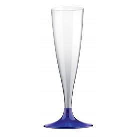 Copa de Plastico Cava con Pie Azul Transp. 140ml (400 Uds)